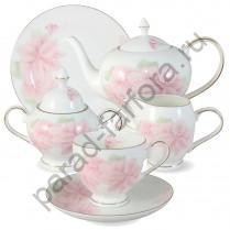 """Чайный сервиз на 6 персон Emerald """"Розовые цветы"""" 21 предмет"""