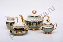 """Чайный сервиз Bavarian Porcelain """"Лист зеленый"""" 15 предметов"""