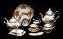"""Чайный сервиз Weimar Porzellan """"Кленовый лист белый"""" 55 предметов 12 персон"""