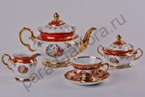 """Чайный сервиз Bavarian Porcelain """"Мадонна красная"""" 15 предметов"""