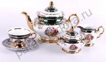 """Чайный сервиз Bavarian Porcelain """"Мадонна зеленая"""" 15 предметов"""