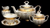 """Чайный сервиз Bavarian Porcelain """"Лента золотая матовая - 2"""" 15 предметов"""