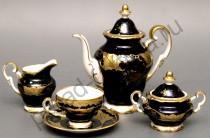 """Кофейный сервиз Weimar Porzellan """"Кленовый лист синий"""" 15 предметов"""