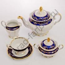 """Чайный сервиз Bavarian Porcelain """"Барокко кобальт"""" 15 предметов"""