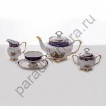 """Чайный сервиз Bavarian Porcelain """"Охота кобальт"""" 15 предметов"""