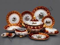 """Столовый сервиз Bavarian Porcelain """"Охота красная"""" 27 предметов"""