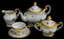 """Чайный сервиз Weimar Porzellan """"Роза золотая"""" 21 предмет на 6 персон"""