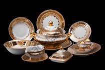"""Столовый сервиз Bavarian Porcelain """"Лист бежевый"""" 27 предметов"""