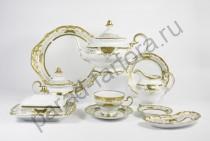 """Чайный сервиз Weimar Porzellan """"Симфония золотая"""" 54 предмета 12 персон"""