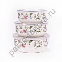 """Эмалированная посуда  Ejiry """"Прованс"""" Набор из 3-х круглых лотков с пластиковыми крышками"""