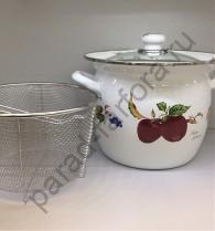 """Эмалированная посуда Japonica """"Фрукты"""" Кастрюля 7,5л с корзиной"""