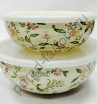 """Эмалированная посуда Japonica """"Прованс"""" Набор из 2-х лотков (2л + 3л)"""