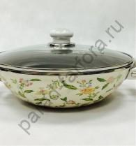 """Эмалированная посуда Japonica """"Прованс"""" Сковорода ВОК 28см с антипригарным покрытием и стеклянной крышкой"""