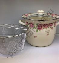 """Эмалированная посуда Japonica """"Розы"""" Кастрюля 7,5л с корзиной"""