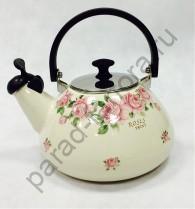 """Эмалированная посуда Japonica """"Розы"""" Чайник 3л со свистком"""