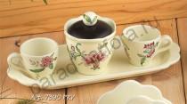 """""""Прованс"""" Набор: 2 кофейные чашки + сахарница на подносе Дл=30см"""