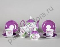"""Чайный сервиз на 6 персон Мэри-Энн """"Лиловые Цветы"""" 15 предметов"""