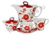 """Чайный сервиз Royal Fine China """"Амата Красный"""" 17 предметов"""