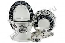 """Столовый сервиз на 6 персон Royal Fine China """"Неверланд черный"""" 27 предметов"""
