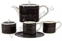 """Чайная пара Royal Fine China """"Саби черный"""" 12 предметов"""