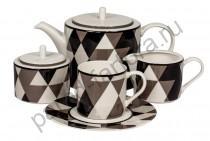 """Чайный сервиз Royal Fine China """"Минотти черный"""" 17 предметов"""