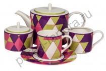 """Чайный сервиз Royal Fine China """"Минотти фиолетовый"""" 17 предметов"""