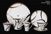 "Чайный сервиз на 6 персон Ханкук Прауна ""Аврора"" 22 предмета с кристаллами Swarovski"