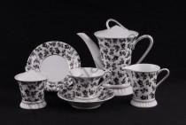 """Чайный сервиз на 6 персон Светлана """"Черно-белые цветы"""" 15 предметов"""