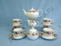 """Чайный сервиз на 6 персон Takito """"Роза чайная"""" 17 предметов"""
