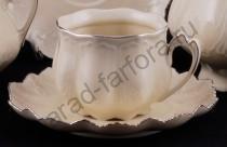 """Кофейная чашка с блюдцем Виктория """"Слоновая кость"""""""