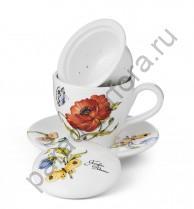 """""""Ботанический сад"""" Чашка с блюдцем с керамическим ситечком и крышкой 13см"""